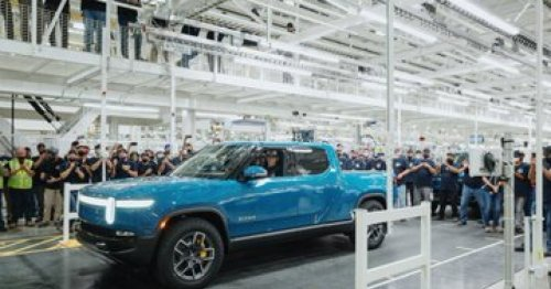 Rivian's first R1T electric pickup truck rolls off the production line