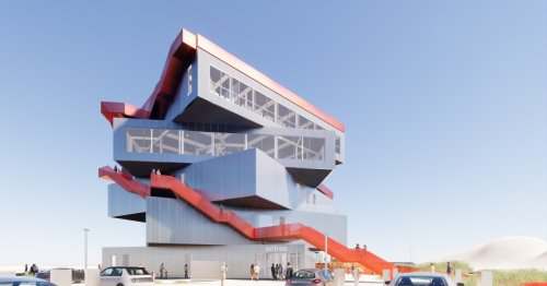 MVRDV stacks offset boxes for energy neutral harbor visitor center