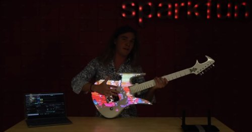 Custom guitar plays animated video on the body
