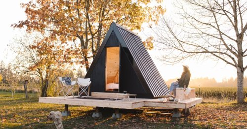 Tiny A-frame cabin can be permanently stowed or hit the road