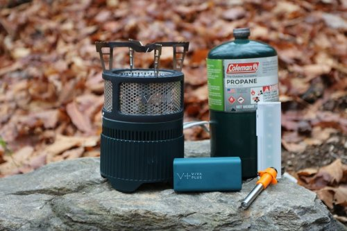 Portable camping stove charges gadgets using propane power