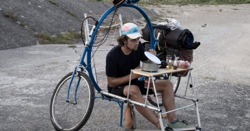 Cercle touring bike features a built-in folding chair, table and cot
