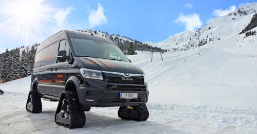 MAN's treaded adventure van rips up Austria's alpine snow