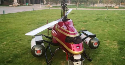 Helicopter drone is made to drop bombs on forest fires