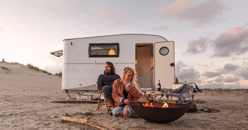Adorable Beachy camping trailer roams like a motor-less VW surf van