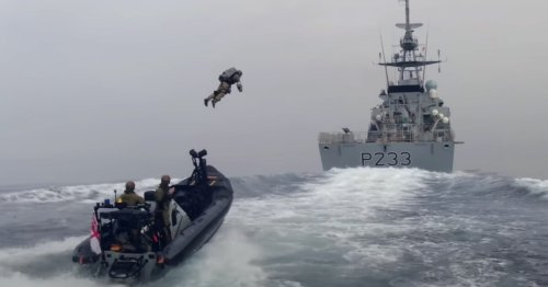 Royal Marines test Gravity jet suit in ship boarding exercise