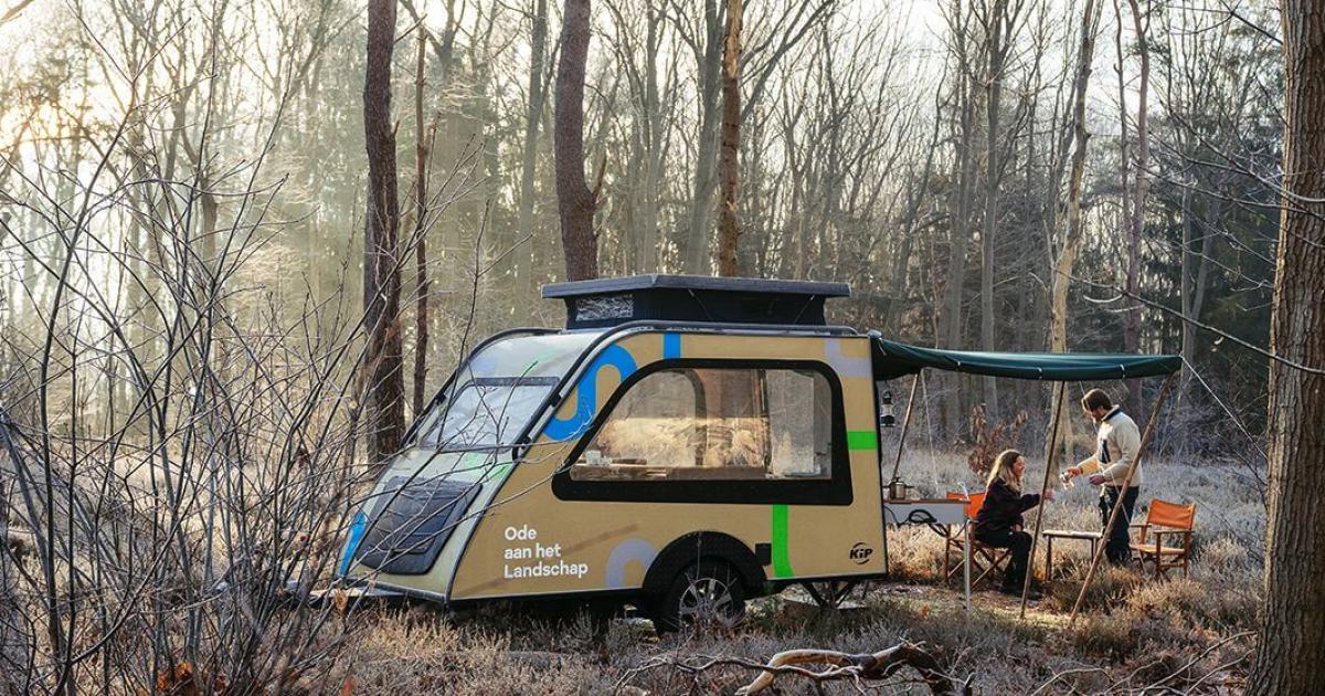Window-loaded teardrop camper concept lets in big forest views