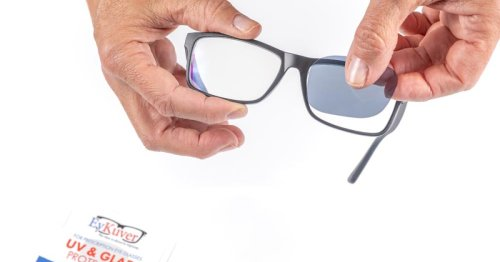 Inexpensive tinted stickers turn eyeglasses into sunglasses