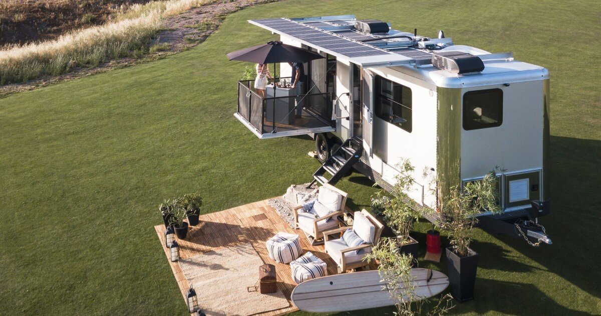 Living Vehicle's shiny new $500k camping trailer can charge an EV