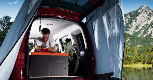 Modular camper boxes turn van into indoor/outdoor base camp