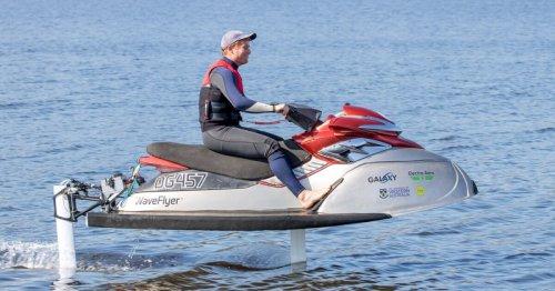 WaveFlyer electric hydrofoil jetski rises above the water