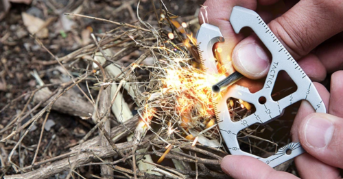 Pocket multi-tool cuts, tensions, pulls, measures ... and starts fires