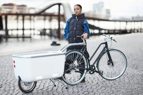 Biomega Ein electric-assist bicycle trailer pushes its weight around