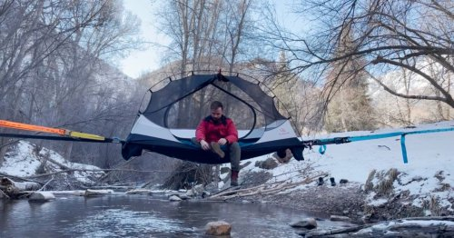 Treeline System offers a new take on the slack-line-suspended tent