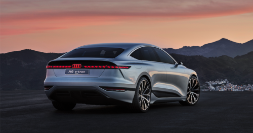 Electric Audi A6 e-tron concept beams out video games while charging