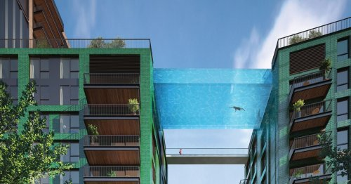 Residents can swim across 100-ft-high Sky Pool to neighboring high rise