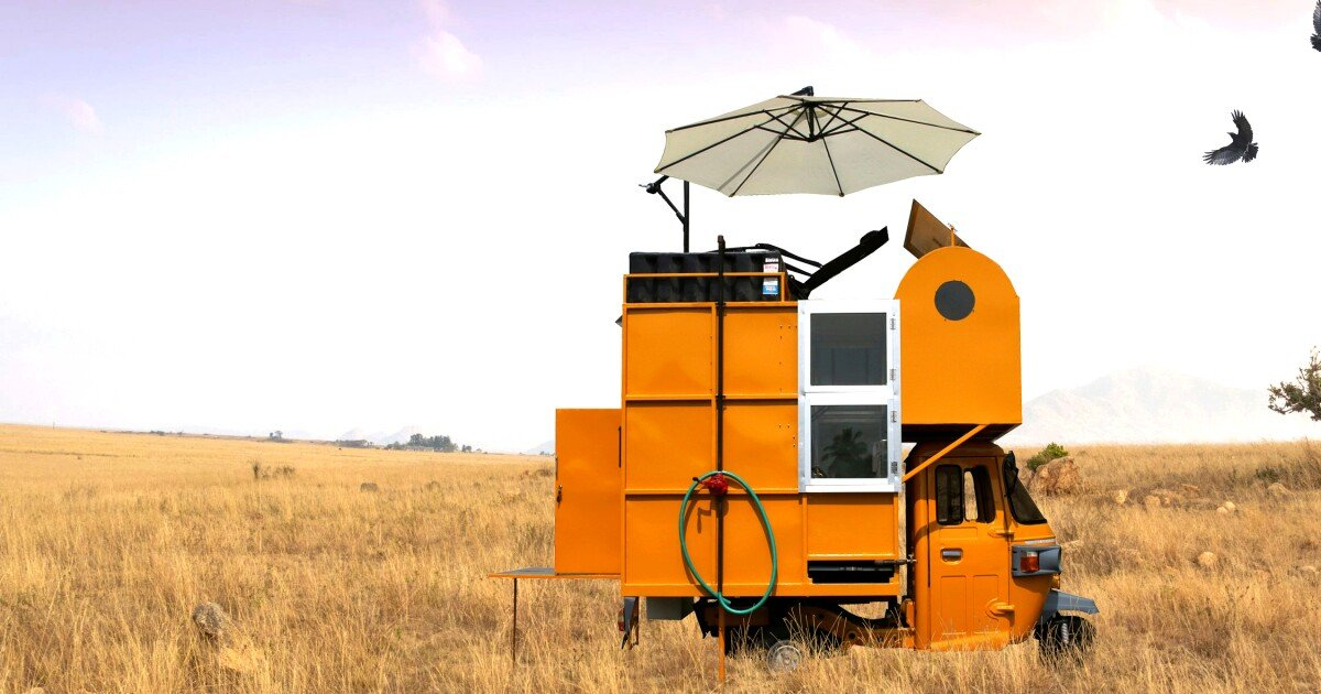 Rickshaw-based micro-house takes small living into the wild
