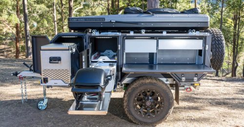 Offtrax camper trailer packs base camp (with bathroom!) in a box