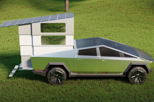 Telescopic camper makes Tesla's Cybertruck an all-electric tiny cabin