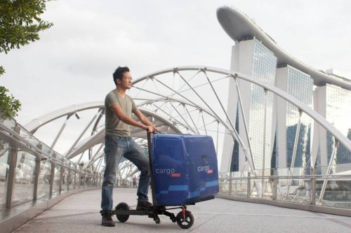 Electric scooter folds to become a hand trolley