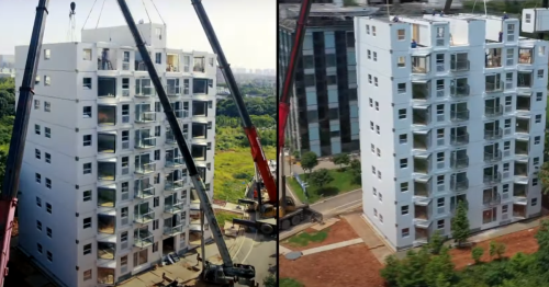Amazing video shows 10-story high-rise built in a day