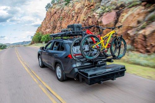 Yakima Exo two-story modular hitch rack gives cars pickup utility