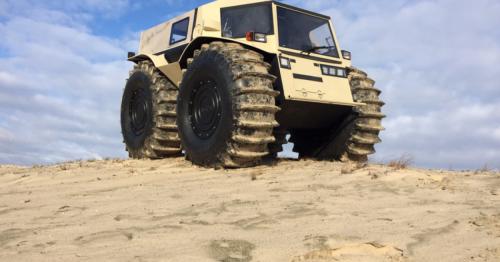 Amphibious Sherp ATV's big wheels keep on turning, no matter the terrain
