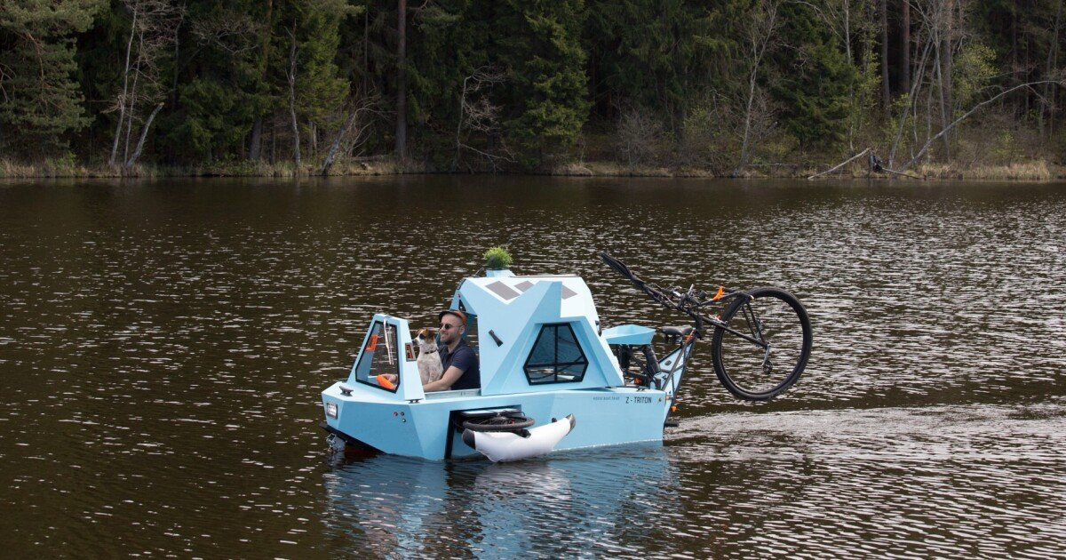 Offbeat micro-camper cycles on land, floats on water