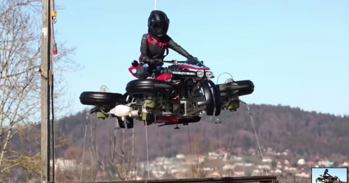 Lazareth's transforming, flying motorcycle demonstrates a stable hover