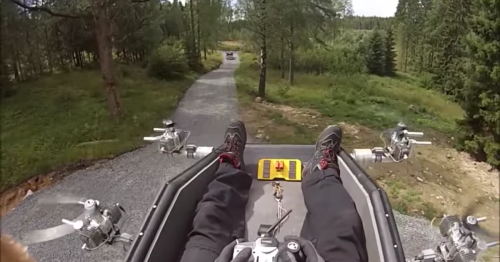 Man levitates on terrifying gasoline-powered flying carpet