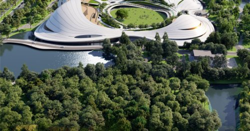 Civic center's stunning sweeping curves encircle multi-use public park