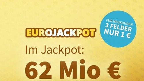 EuroJackpot am 14.05. - 5 Euro Rabatt: 62 Millionen Euro warten am Freitag im Jackpot auf Verteilung