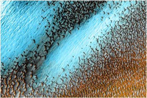 NASA Shares Stunning Images of Electric Blue Dunes on Mars
