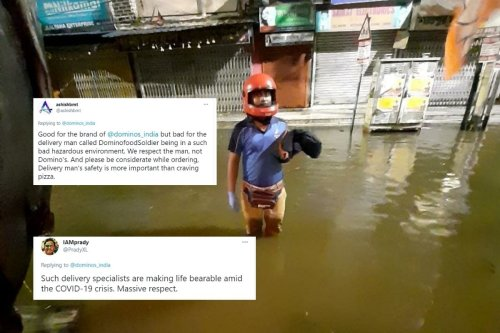 Dominos 'Saluting' Its 'Food Soldier' for Dropping off Delivery during Kolkata's Heavy Flood Leaves Twitter