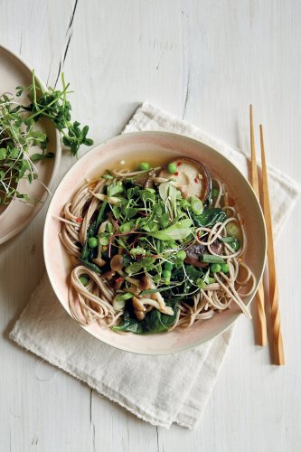 Antoni Porowski's miso noodle soup with mushrooms, peas and greens