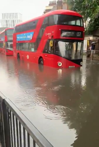 London roads and Tube stations flooded as thunderstorms strike south of England
