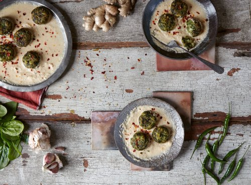Chetna Makan's spinach kofta with creamy almond-onion curry recipe