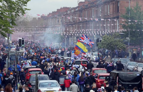 Thousands of Rangers fans take to streets of Glasgow to celebrate title win