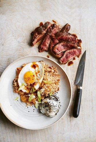 Gordon Ramsay's blackened steak with kimchi fried rice and pickled radish