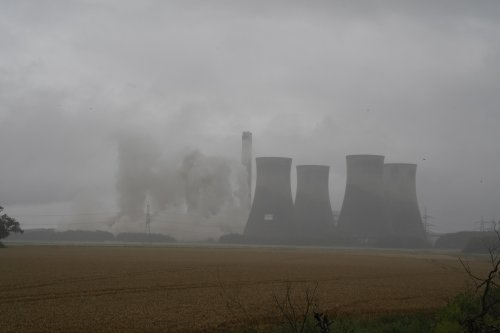 People gather to watch as huge cooling towers demolished at Yorkshire landmark