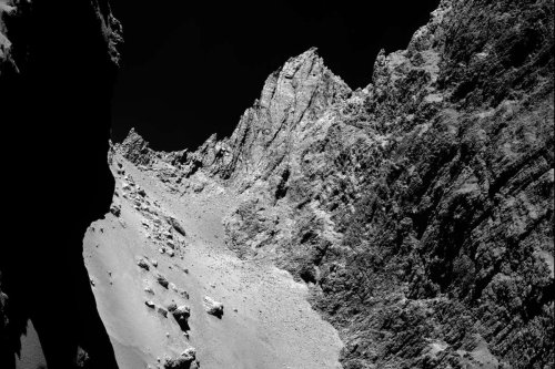 Cliffs on comet 67P wander across the landscape in summer