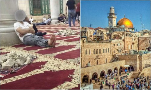 Why are Mosque-goers throwing rocks from the holy site of Al Aqsa?