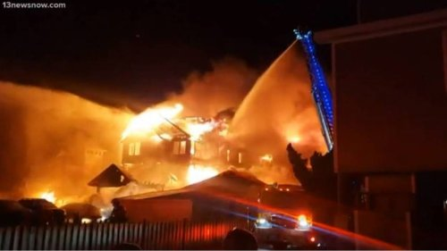 Massive home goes up in flames, leaving dozens displaced on Outer Banks, officials say