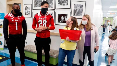 PHOTOS: Surprise! How NC State football players honored teachers for appreciation week.