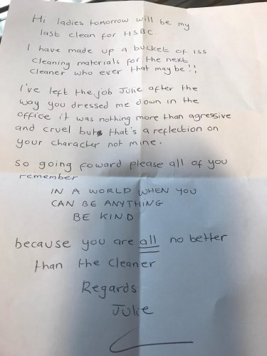 "Cleaner's resignation letter to ""awful manager"" goes viral"