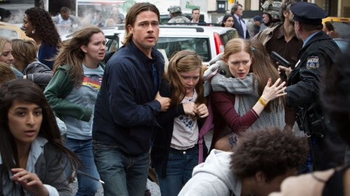 Vaccination center screens 'World War Z' to people as they wait for jab