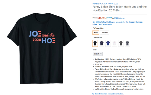 Amazon sells t-shirts referring to Kamala Harris by offensive term