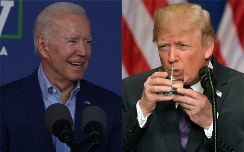 Joe Biden mocking Donald Trump by drinking water with one hand in viral video