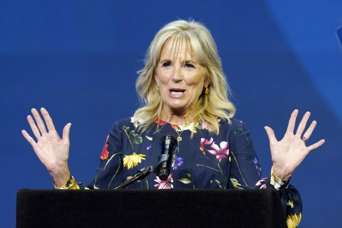 Donald Trump supporters protest as Jill Biden visits vaccine clinic