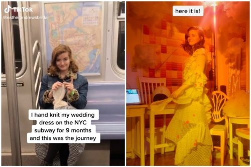 Bride spent nine months knitting her own wedding dress, and viewers are amazed